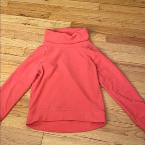 Coral plush sweater with collar cuff